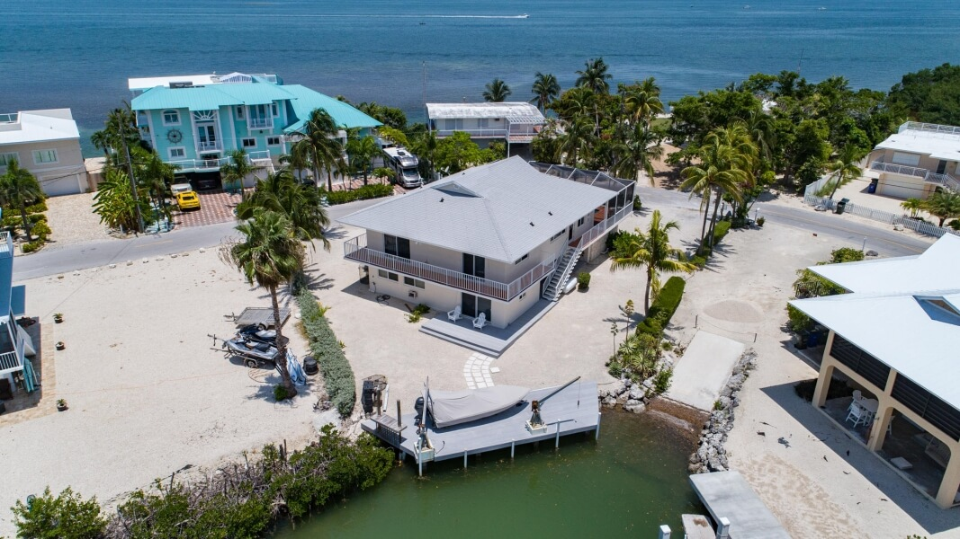 aerial view of beachfront homes