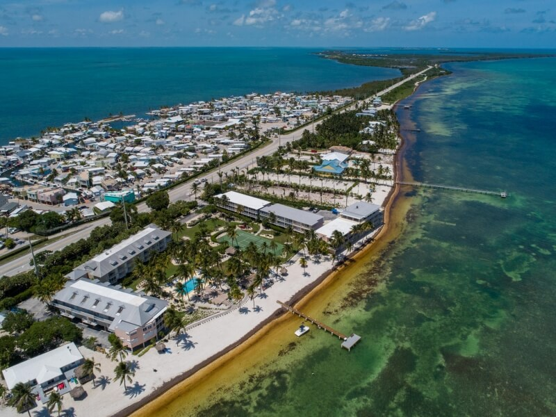 aerial view of beachfront homes in Long Key